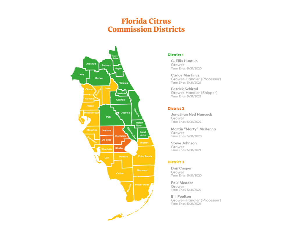florida citrus commission districts map