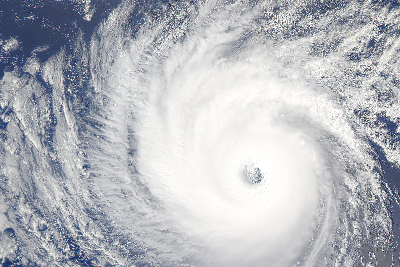 hurricane viewed from space over water