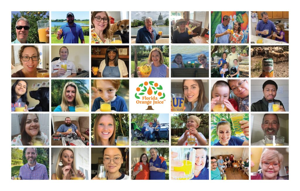 collage of people with orange juice for national orange juice day