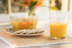 soup crackers orange juice meal