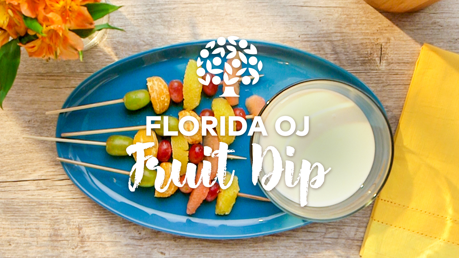 Florida OJ Fruit Dip with fruit skewers