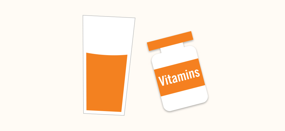 Orange icon graphic of a glass of orange juice and vitamin bottle