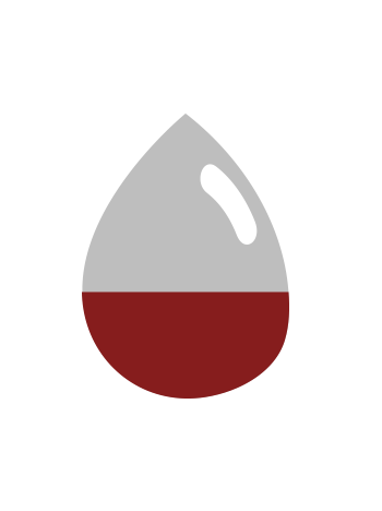 graphic icon of a blood drop on a gray scale background