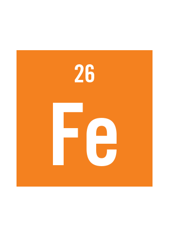 graphic with orange background and white text of Iron chemical element with symbol Fe