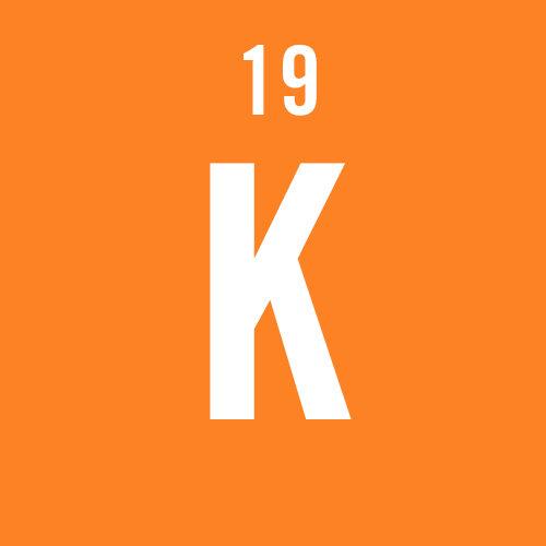"orange icon of the chemical element ""potassium"""