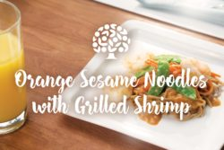 Orange Sesame Noodles with Grilled Shrimp