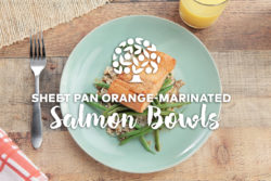 orange marinated salmon over rice and green beans
